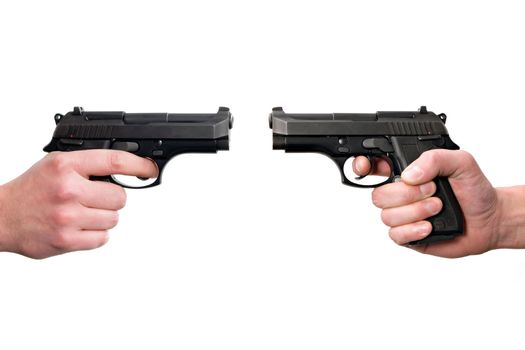 Two hands holding guns, front to front. Isolated on white background.