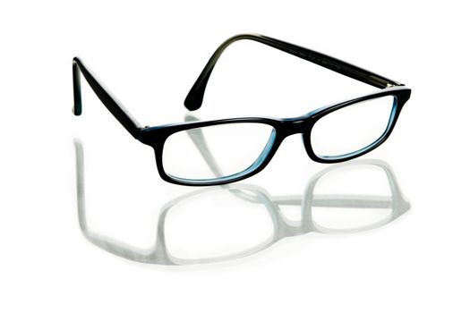 Glasses with reflection on white background