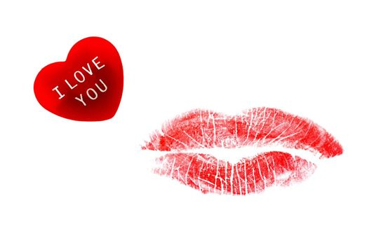 Red heart with I Love You message and lipstick kiss isolated on white