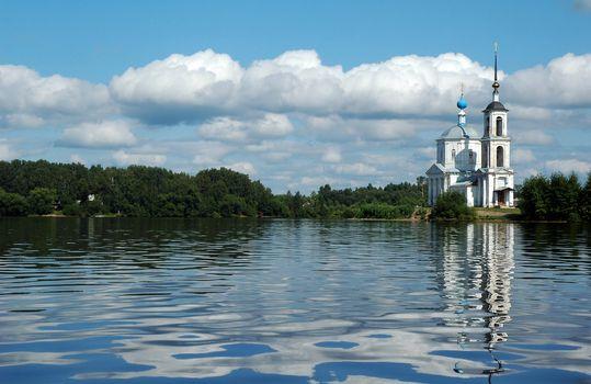 The White orthodox church on Volga