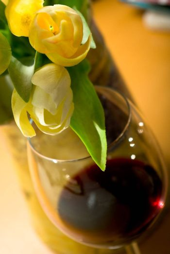 glass red wine and tulip