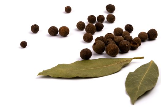aromatic pepper and bay leaves
