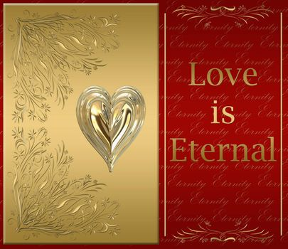 beautiful victorian style valentines card in ornate gold with love is eternal message