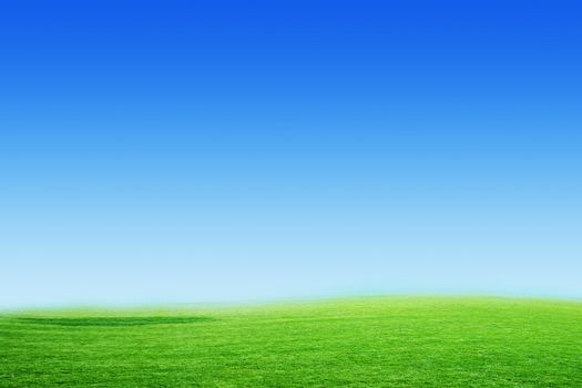 blue sky on horizon and green floor