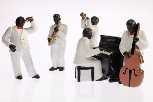 A group of black jazz musicians played.