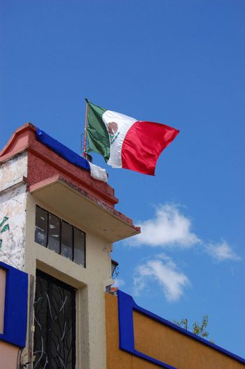 Mexican Flag on Top of Building in Chiapas, Mexico