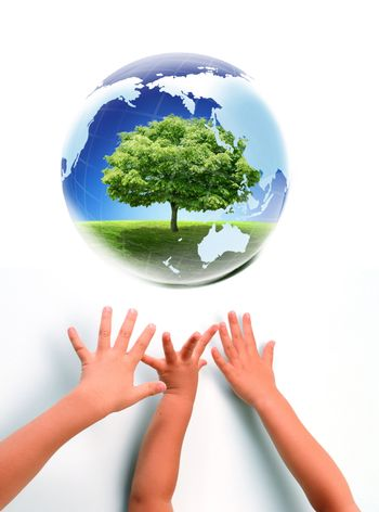 Nice picture with Earth and babies hands