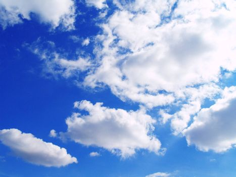 The blue sky and beautiful white clouds