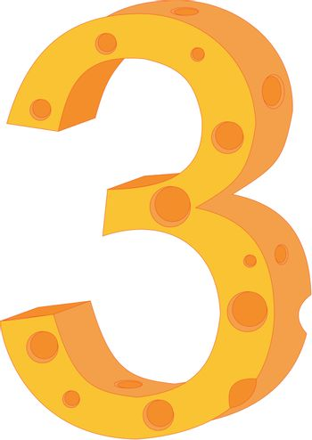 vector cheese numeral three