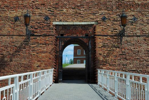 Entrance to old fortress in Kolomna town near Moscow