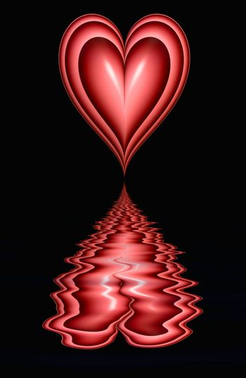 love heart on black background with rippling reflection