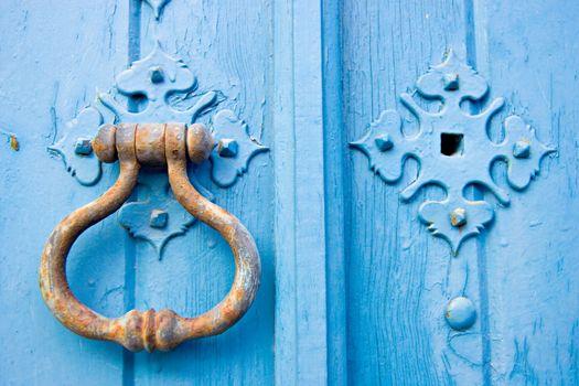 Old blue door knob