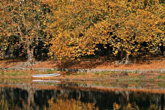 Boat on calm river with autumn colors.