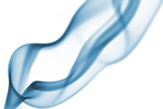 Abstract. Blue toned smoke over white background.