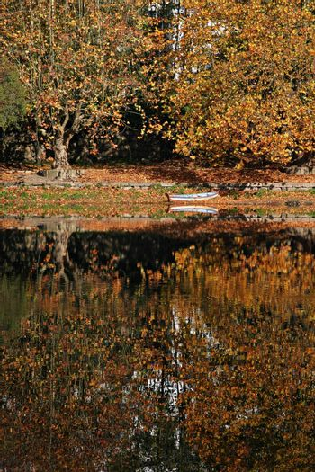boat and reflection in autumn scene