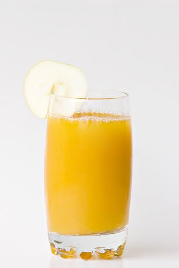 Juice glass in white background