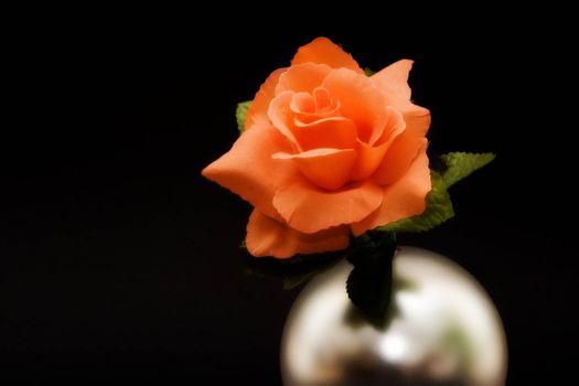 Orange rose in silver globe on black background