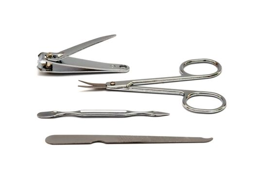 Manicure tools on white background