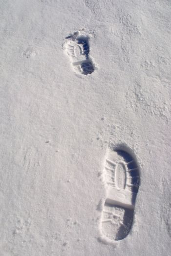 boot footsteps in snow