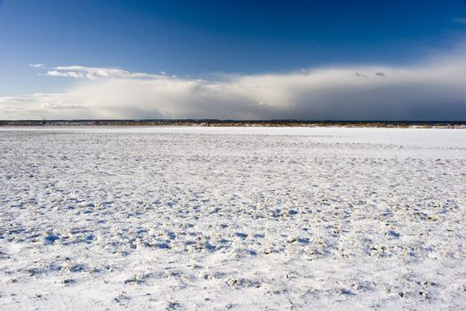 View of a snow field.