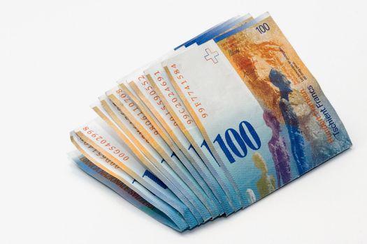 100 Swiss Frac bills isolated on white background