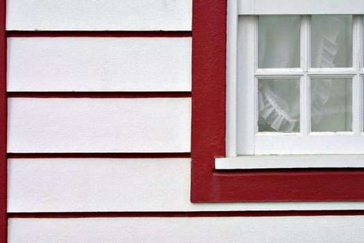 red and white house detail