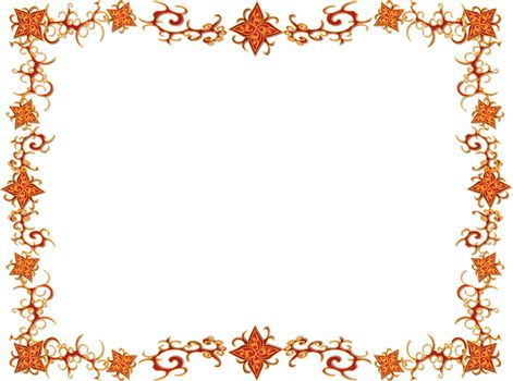 Frame from flowers and curves of orange color