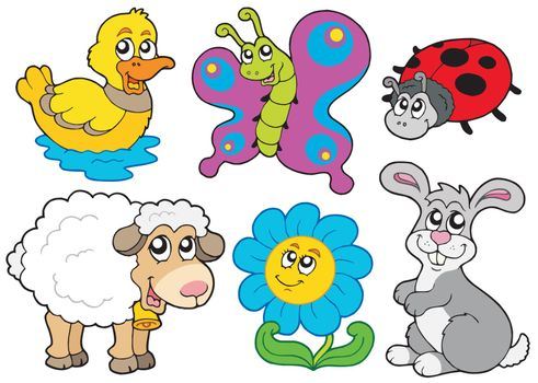 Spring animals collection - vector illustration.