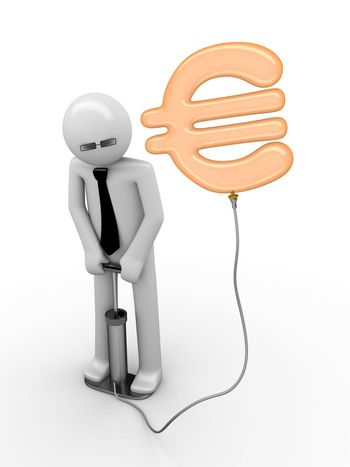 3d rendered copyspaced image with a man pumping a euro sign using a foot pump; euro is a baloon pumped by businessmen, bankers and financials