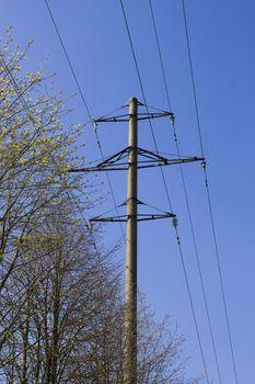 High voltage line on blue sky