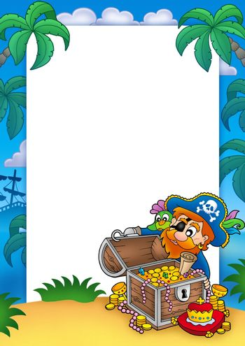 Frame with pirate and treasure