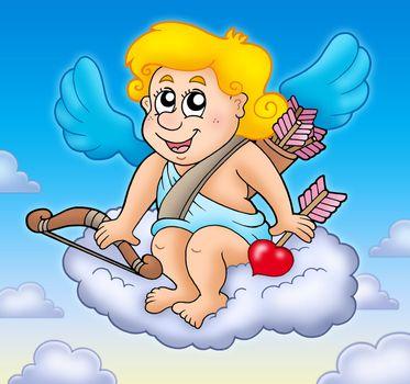 Happy Cupid on sky