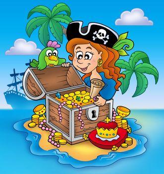 Pirate girl and treasure