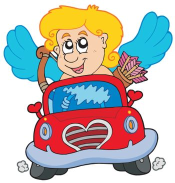 Cupid in red car