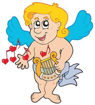Cupid playing harp