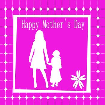 mother and child hot pink mothers day card