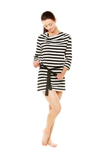 Girl in sweater with stripes