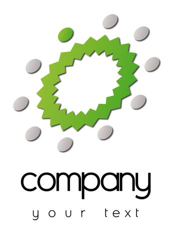 A business logo with green and grey circles around a green crown
