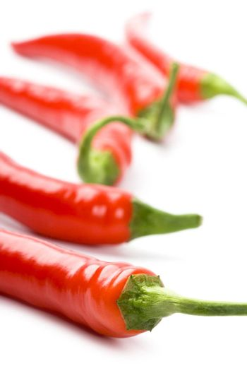 five red chili peppers