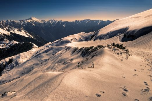 Landscape of snow mountain with blue sky and yellow slop.