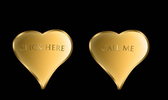 pair of golden hearts with inscriptions and cliccaqui chiammi relief