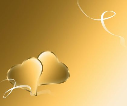 pair of golden hearts with white ribbons on a gold background