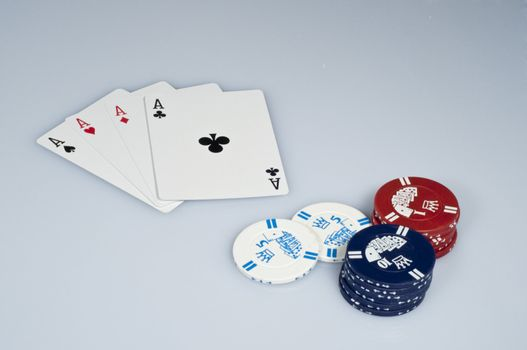 poker axis boards and chips on white background