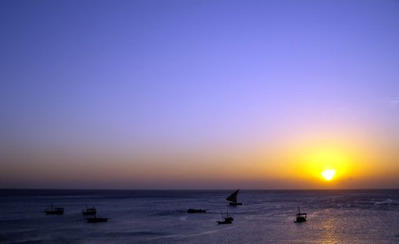 The famous sunset of Stone Town in Zanzibar