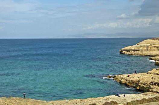 reefs and sea of the smerald coast in Sardinia