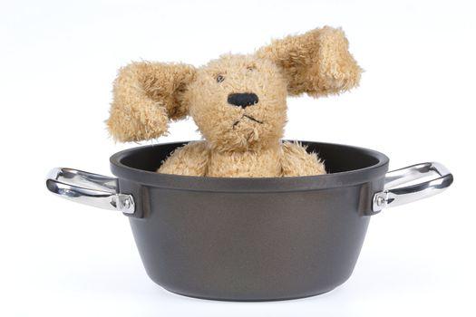 saucepan with hare