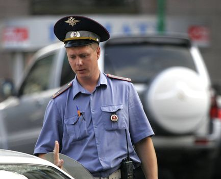 The Russian policeman in the street cities of Moscows