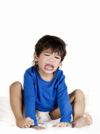 Angry crying toddler boy
