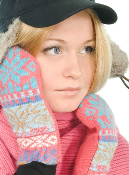 blue-eyed blonde in fur cap