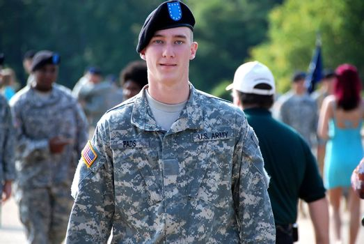 Handsome, young, American soldier upon his graduation from Basic Training at Ft. Benning, GA